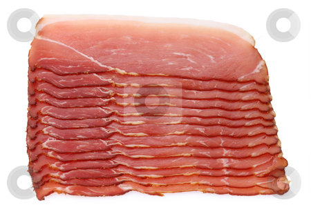 Smoked ham stock photo, Slices of smoked ham isolated on white Background by Birgit Reitz-Hofmann