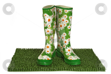 Rubber boots stock photo, Pair of black rubber boots on green grass by Birgit Reitz-Hofmann