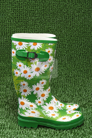 Rubber boots stock photo, Colorful rubber boots on green grass backround by Birgit Reitz-Hofmann