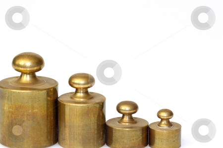 Pharmacy lead weights stock photo, A set of lead weights isolated on whtie background by Birgit Reitz-Hofmann