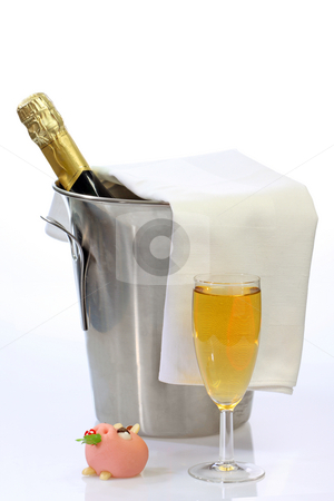 Happy new year stock photo, Champagne toast composition on bright background by Birgit Reitz-Hofmann