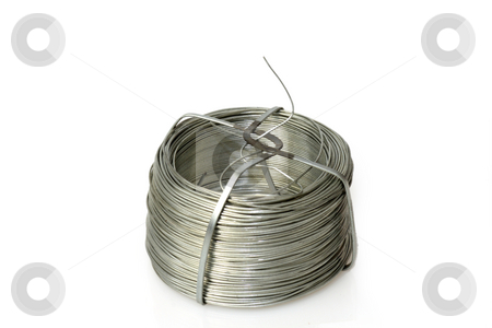 Wire spool stock photo, Wire spool isolated on white background by Birgit Reitz-Hofmann