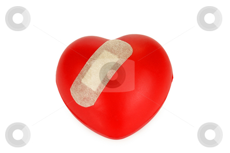 Red heart stock photo, Red heart with plaster isolated on white background by Birgit Reitz-Hofmann
