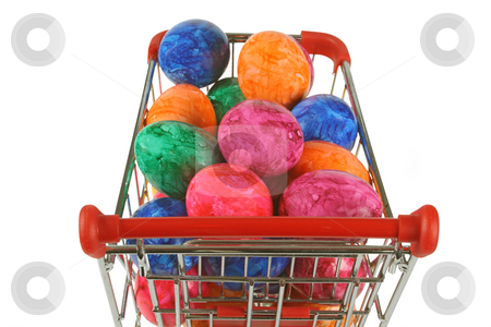 Colorful easter eggs stock photo, Colorful easter eggs in a shopping trolley on white background by Birgit Reitz-Hofmann