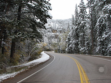 Driving Threw Spearfish Canyon - Winter stock photo, Taken In Spearfish Canyon In South Dakota! by Brian Meyer