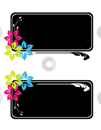 Floral Labels stock vector clipart, Vector illustration of floral labels with a fresh Spring / Summer theme by Inge Schepers