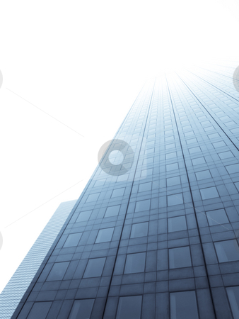 Skycraper to light stock photo, Glass skyscraper towards bright  sky by Laurent Dambies