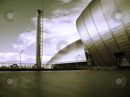 Glasgow science center on Pacific quay stock photo, Infrared picture of glasgow science center with Imax and observation tower by Laurent Dambies