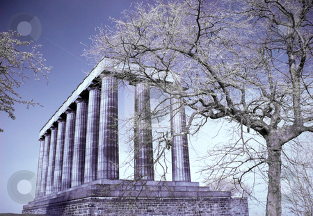National monument of Edinburgh stock photo, Infrared picture of the National monument on Calton hill in Edinburgh Scotland by Laurent Dambies