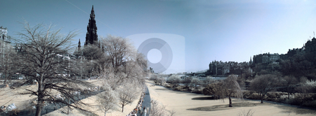 Edinburgh panoramic infrared view stock photo, Edinburgh panoramic from Prince street garden with the Scott monument by Laurent Dambies