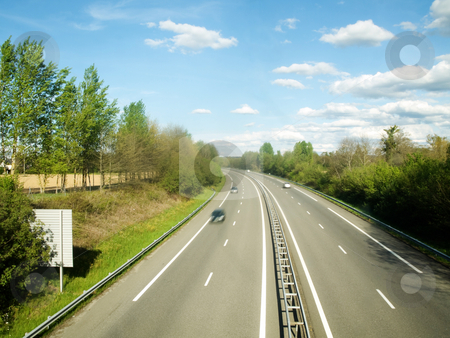 French motorway stock photo, French motorway with cars motion blur by Laurent Dambies