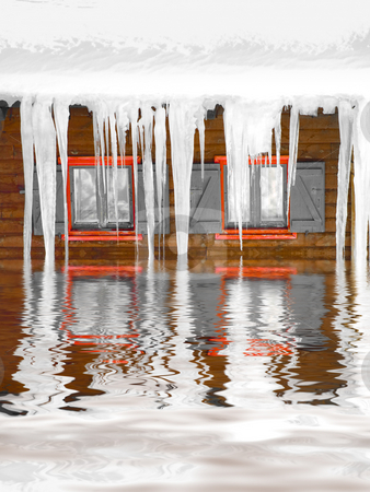 Freezing winter stock photo, House with snow on roof and stalactites reflecting in water by Laurent Dambies