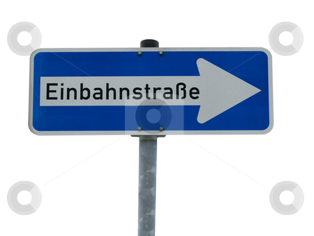 One way road stock photo, German one way road sign isolated on white  background by Birgit Reitz-Hofmann