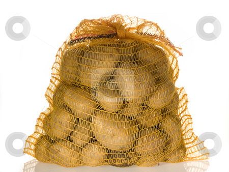 Fresh potatoes stock photo, Potatoes in a sack on bright background by Birgit Reitz-Hofmann