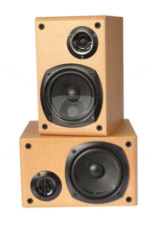 Wooden speaker box stock photo, Speaker box isolated on white background by Birgit Reitz-Hofmann