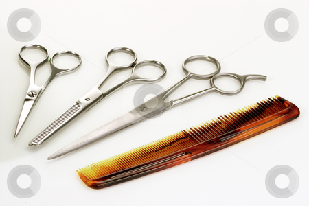 Hairbeauty_3 stock photo, Haircutting tools on bright background by Birgit Reitz-Hofmann