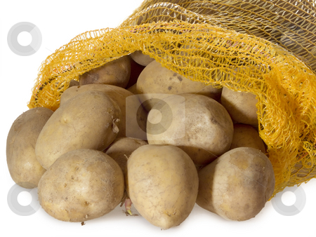 Potatoes_1 stock photo, Potatoes in a sack on bright background by Birgit Reitz-Hofmann