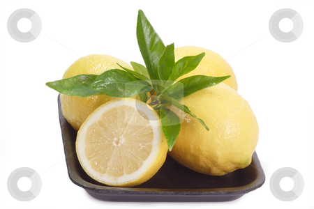 Lemons stock photo, Fresh lemons on white background by Birgit Reitz-Hofmann