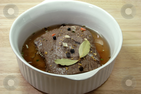 Marinated stock photo, Marinated beef meat in Detail. Shot in studio by Birgit Reitz-Hofmann