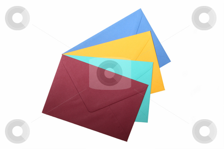 Envelopes stock photo, Colorful envelopes isolated on white background by Birgit Reitz-Hofmann