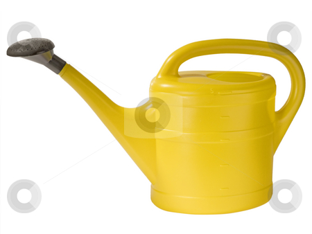 Watering can stock photo, Yellow watering can ioslated on whtie background by Birgit Reitz-Hofmann