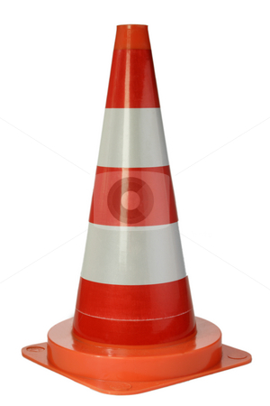 Danger cone stock photo, Danger cone isolated on white background by Birgit Reitz-Hofmann