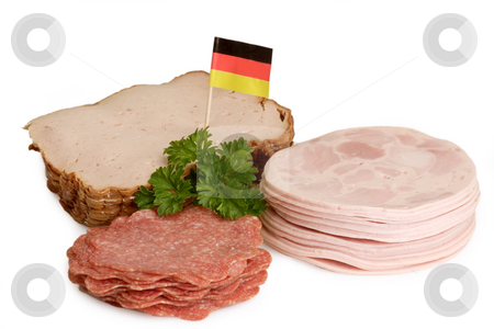 Sliced sausage stock photo, Fresh sliced sausage on bright background by Birgit Reitz-Hofmann