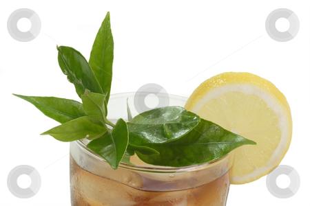 Lemon ice tea_3 stock photo, A glass full of Ice Tea with a lemon slice on bright background by Birgit Reitz-Hofmann