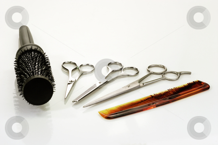 Hairbeauty_2 stock photo, Haircutting tools on bright background by Birgit Reitz-Hofmann