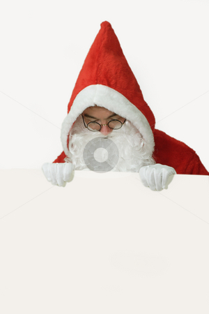Santa with White Advertising Space stock photo, Male caucasian model of santa claus holding a white board - isolated on white background by Birgit Reitz-Hofmann