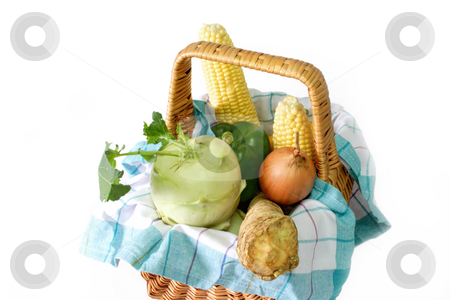 Vegetable in a basket stock photo, Fresh vegetable in a basket on bright background by Birgit Reitz-Hofmann