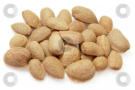 Almonds stock photo, Fresh almonds on white background by Birgit Reitz-Hofmann