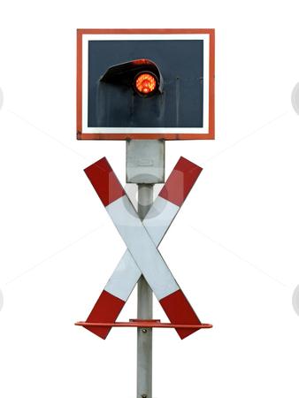 Railway Crossing stock photo, European traffic stoplight. St. Andreas Railway Crossing. by Birgit Reitz-Hofmann