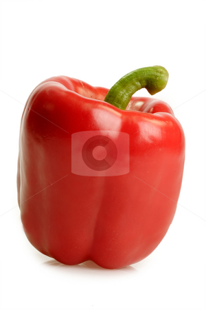 Red bell pepper stock photo, Red bell pepper on bright background by Birgit Reitz-Hofmann