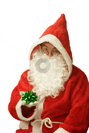 Santa with Gift Loop stock photo, Male caucasian model of santa claus - isolated on white background by Birgit Reitz-Hofmann