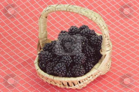 Fresh fruits stock photo, Fresh blackberries in a basket on red background by Birgit Reitz-Hofmann