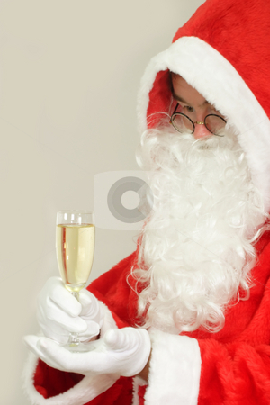 Champagne stock photo, Male caucasian model of santa claus on grey background by Birgit Reitz-Hofmann