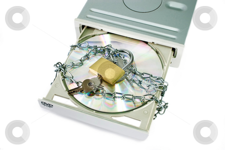 Data security_1 stock photo, DVD drive with safety lock isolated on white background by Birgit Reitz-Hofmann