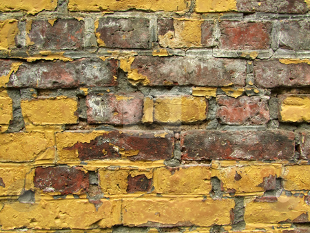 Old stone wall stock photo, Old brick textured brick wall as background by Birgit Reitz-Hofmann