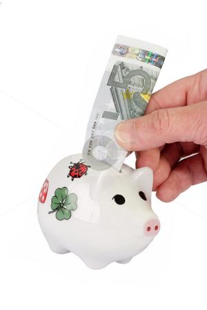 Piggybank_1 stock photo, Piggybank with ten euro bank note isolated on white background by Birgit Reitz-Hofmann