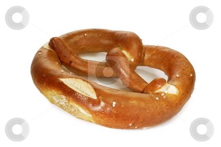 Pretzel stock photo, Salted bavarian pretzel on bright background by Birgit Reitz-Hofmann