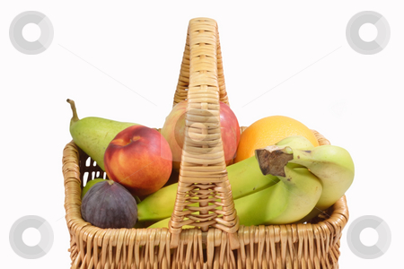 Fresh fruits stock photo, Fresh fruits in a basket on white background by Birgit Reitz-Hofmann