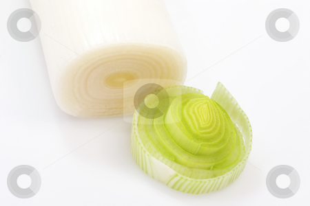 Leek stock photo, Fresh leek on bright background by Birgit Reitz-Hofmann