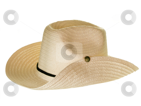 Straw hat stock photo, Straw hat isolated on white background by Birgit Reitz-Hofmann