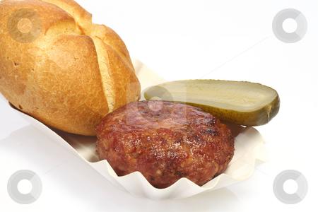 Fried meatball stock photo, Tasty meatball on bright background by Birgit Reitz-Hofmann