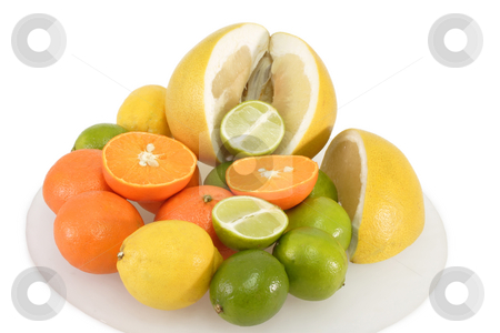 Fruits on a plate stock photo, Colorful fresh and  healthy fruits on bright background by Birgit Reitz-Hofmann