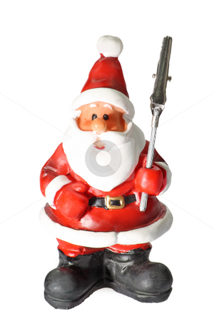 Paper holder stock photo, Santa clause figure as paper holder isolated on white background by Birgit Reitz-Hofmann