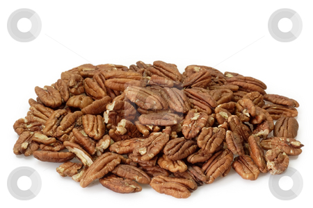 Pecan nuts stock photo, Pecan nuts on bright background by Birgit Reitz-Hofmann
