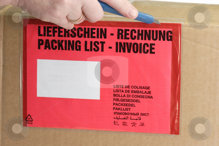 Packing list stock photo, Detail from a Packing on a package. by Birgit Reitz-Hofmann