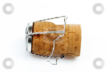 Champagne cork stock photo, Champagne cork with wire keeper on bright background by Birgit Reitz-Hofmann